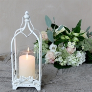 Lanterne med holder i antique creme