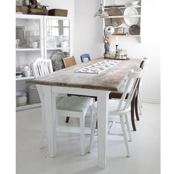 Køb nu   skønt spisebord med natur bordplade og patineret look i ...