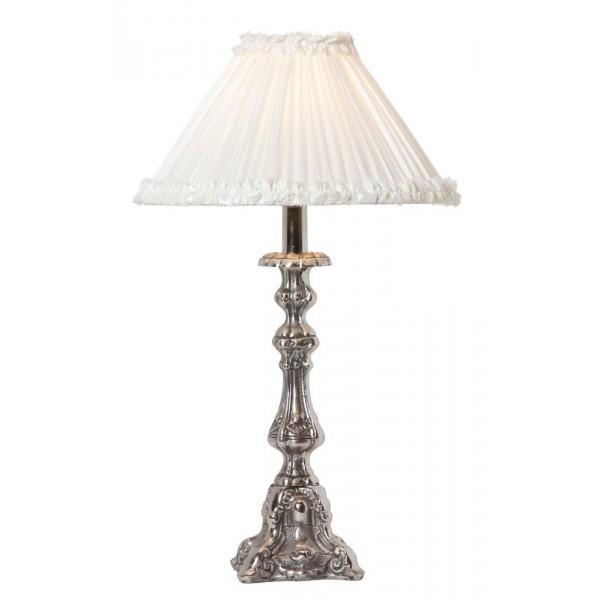Køb her _ Smuk bordlampe med antikt sølvlook hos Louis & Ludvig