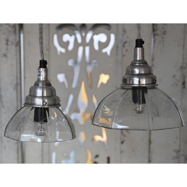Rustik 8-kantet loftslampe med glasskærm og dekorativ slibning