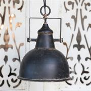 Industriel loftlampe i antik sort