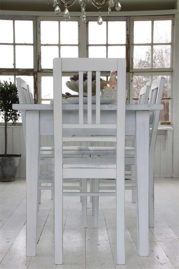 Rustik hvid patineret spisebordsstol