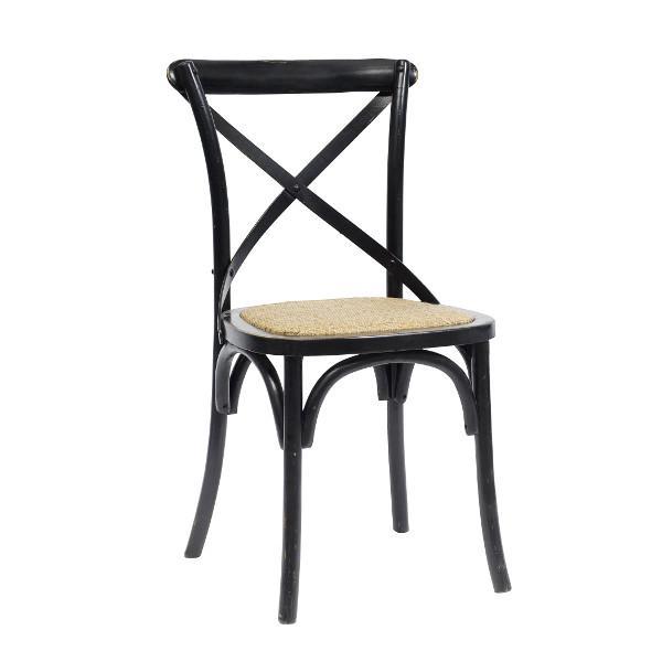 Enkel romantisk spisebordsstol i træ med rustik sort finish i antik ...