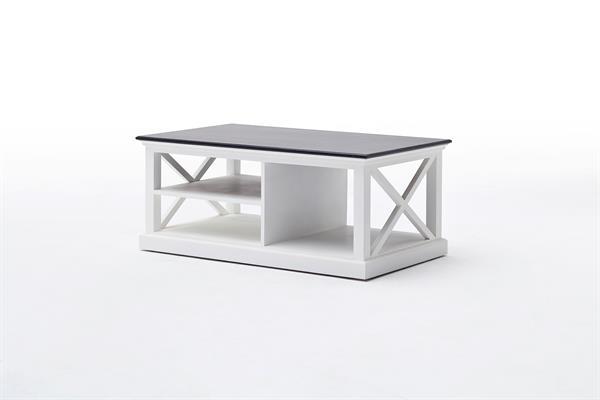 Se her   elegant sofabord i hvidmalet mahogni med sort top i ...